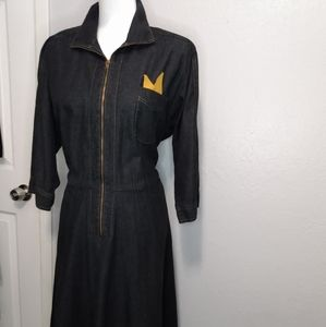 Vintage black denim dress